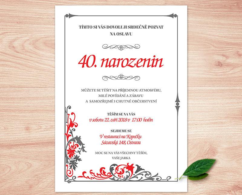 oslava 40 narozenin pozvánka Pozvánka na oslavu   květinová | Lepilova.cz oslava 40 narozenin pozvánka