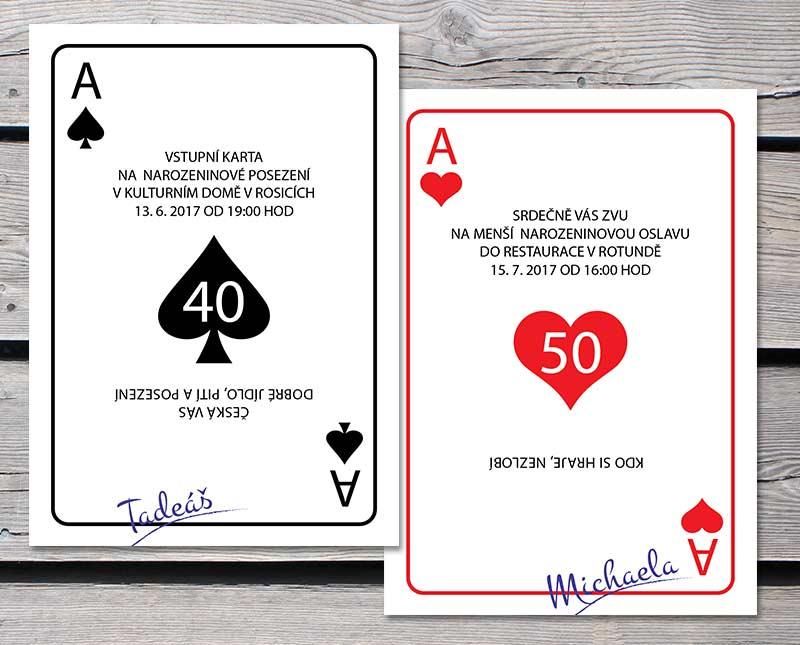 vtipná pozvánka na 50 narozeniny Hrací karty   pozvánka na oslavu, text upravím podle vašeho přání vtipná pozvánka na 50 narozeniny