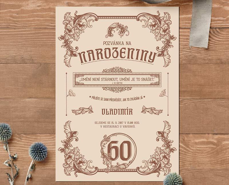 pozvánka na 80 narozeniny Retro pozvánka na narozeniny s vašim textem | Lepilova.cz pozvánka na 80 narozeniny